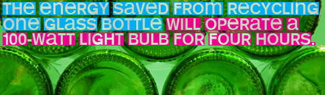 The energy saved from recycling one glass bottle will operate a 100-watt light bulb for four hours. from the U.S. Environmental Protection Agency