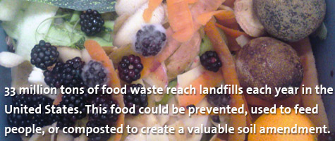 33 million tons of food waste reach landfills each year in the United States. This food could be prevented, used to feed people, or composted to create a valuable soil amendment.